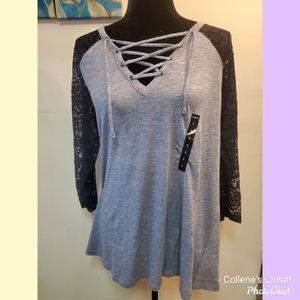Torrid 1 Gray Lace Arm Henley Top